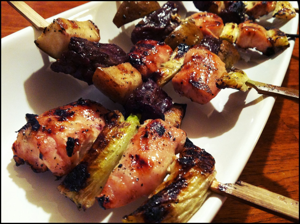 Grilled Yuzu Chicken on a Stick and Honey Soy Glazed Beef ...