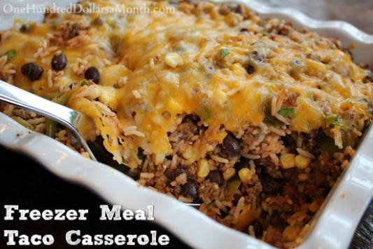 Ground Beef Freezer Meal - Taco Casserole