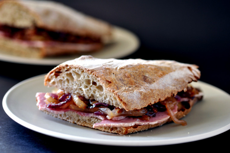Ham sandwich with honey and mustard onions | Fish, chips ...