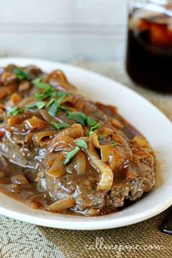 Hamburger Steak with Onions and Brown Gravy | Recipe ...