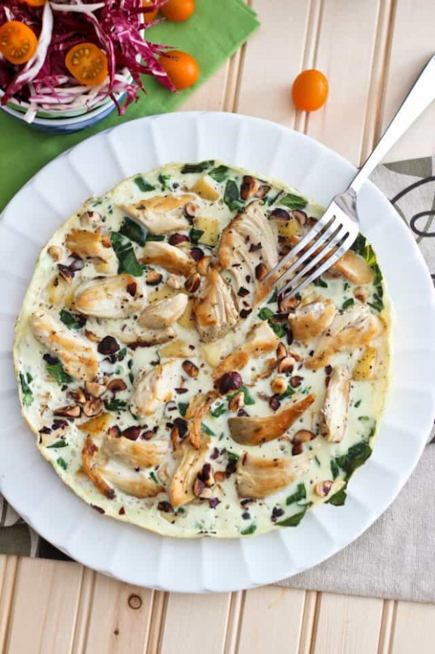 Healthy Apple and Chicken Egg White Omelet