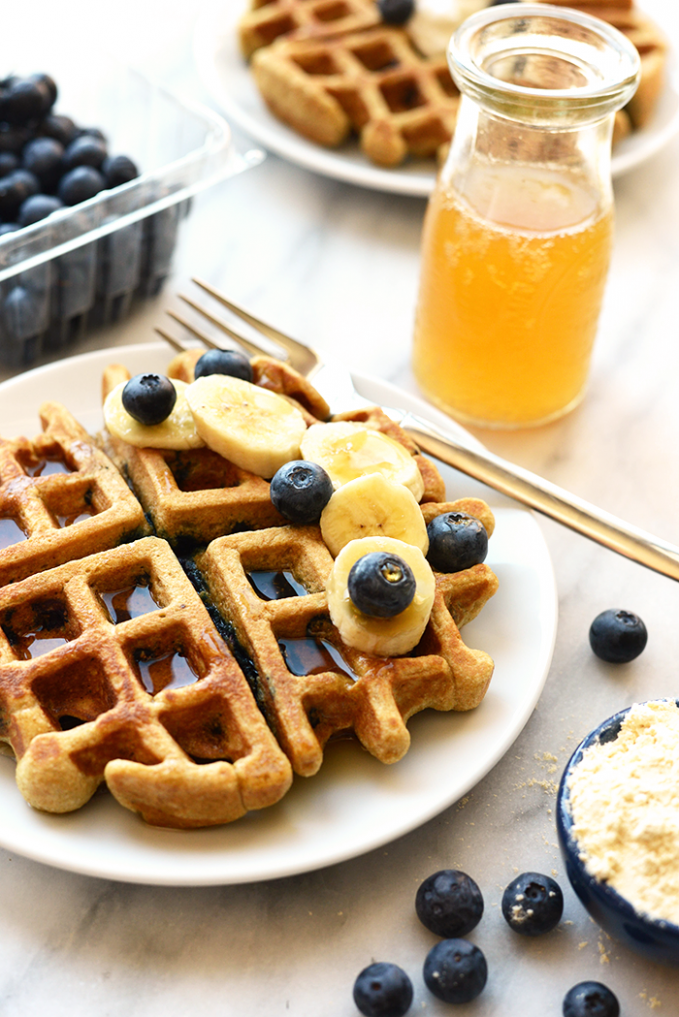 Healthy Blueberry Waffle Recipe - Fit Foodie Finds