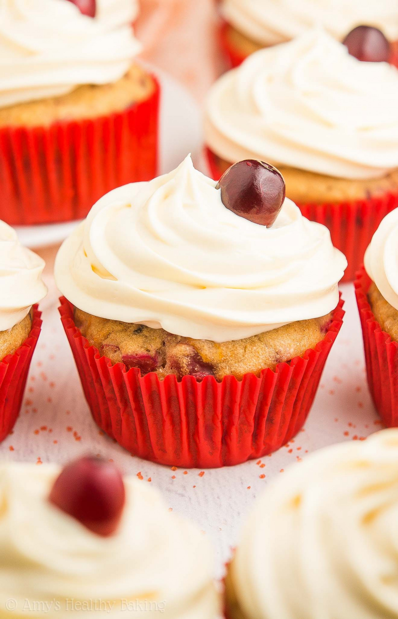 Healthy Cranberry Orange Cupcakes with Cream Cheese Frosting