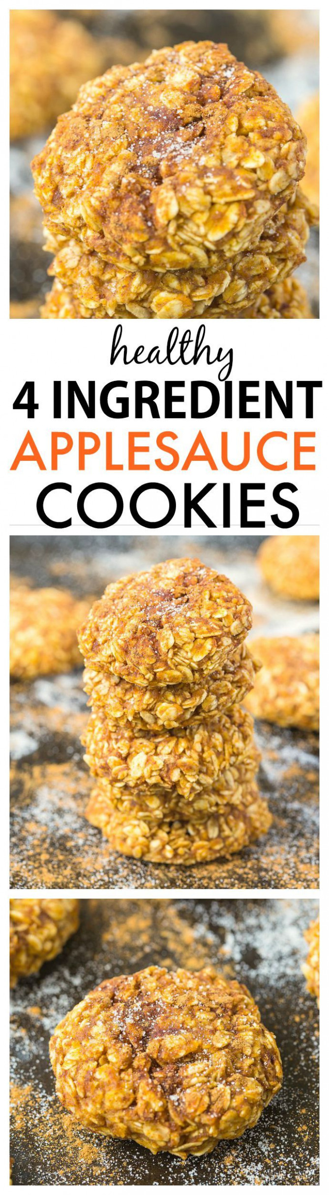 Healthy Four Ingredient Applesauce Cookies- Soft and chewy ...