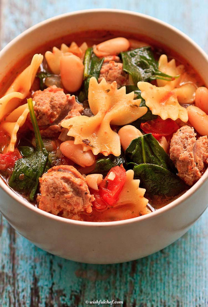 Healthy Italian Winter Soup with Turkey Sausage - Wishful Chef