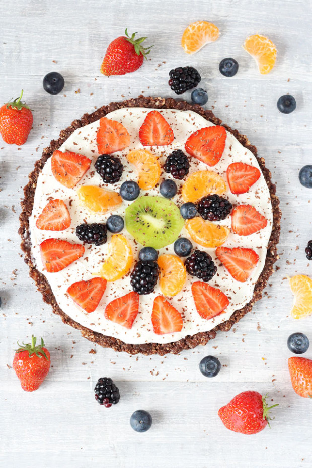 Healthy No Bake Chocolate Fruit Pizza Recipe | Healthy ...