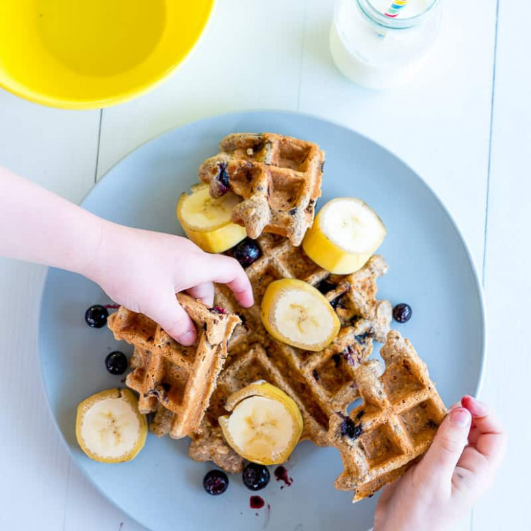 Healthy Waffle Recipe - Banana Oat Blueberry - Refined ...