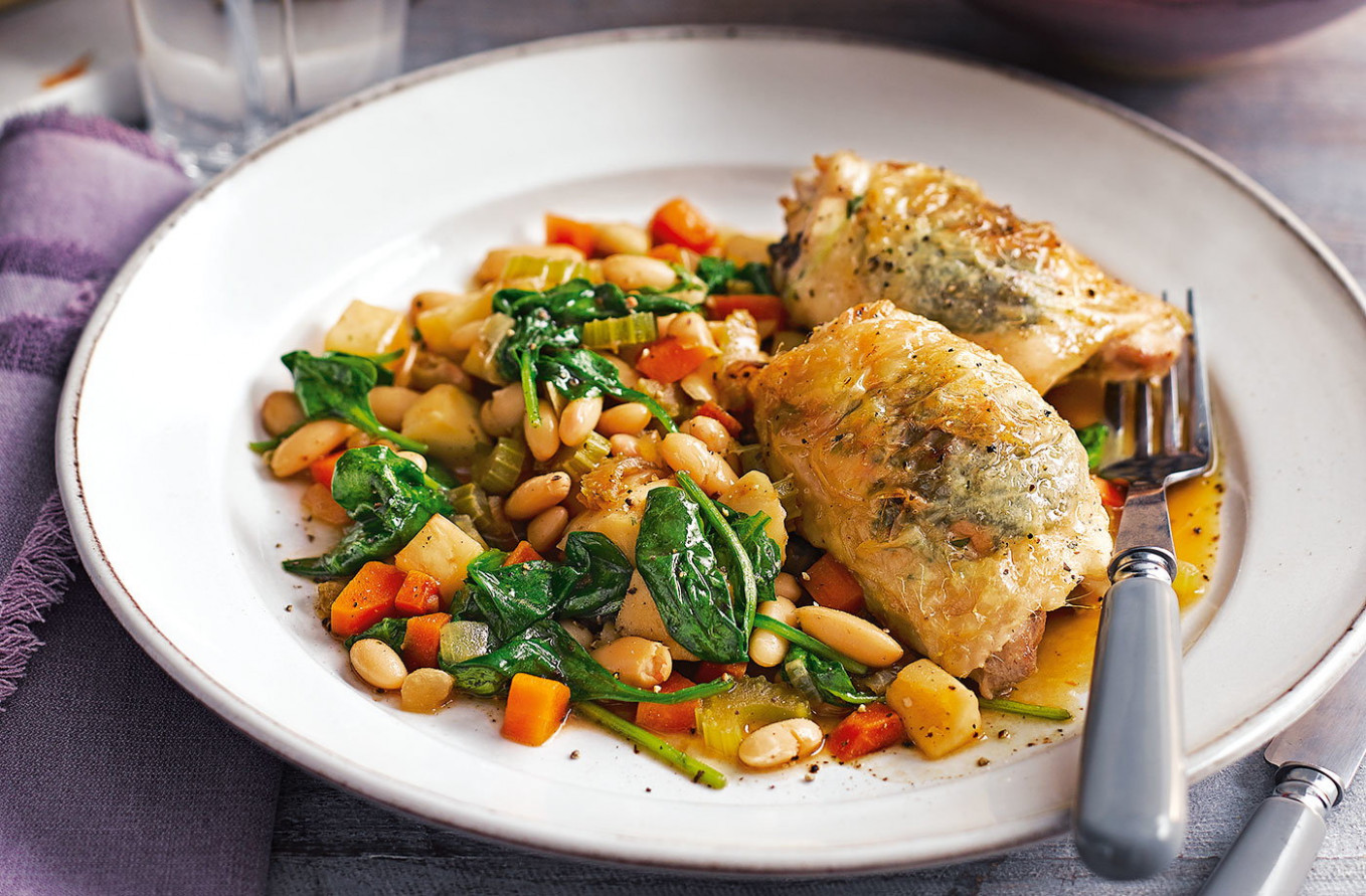Herby roast chicken with white beans | Tesco Real Food