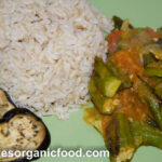 Homemade Organic Brown Rice With Sauté Okra And Vegetables  4
