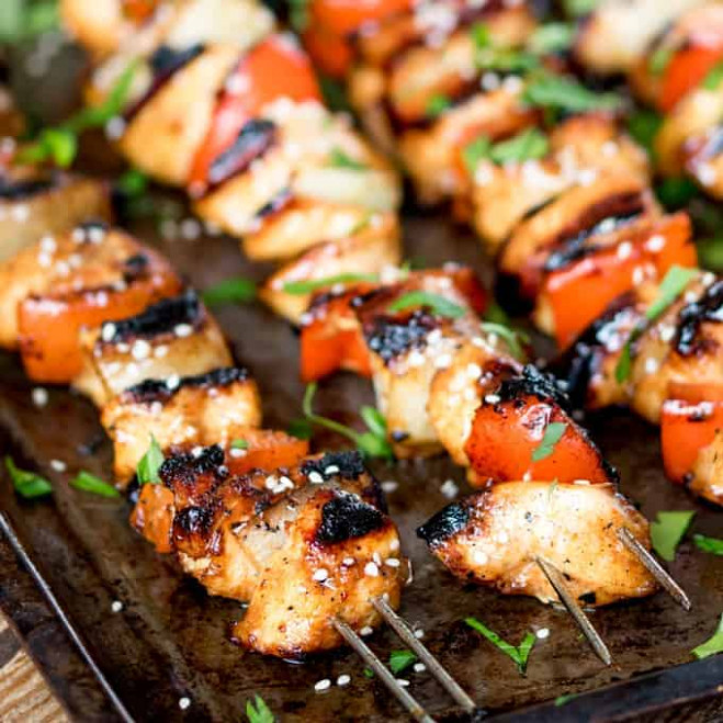 Honey Garlic Chicken Skewers - Nicky's Kitchen Sanctuary