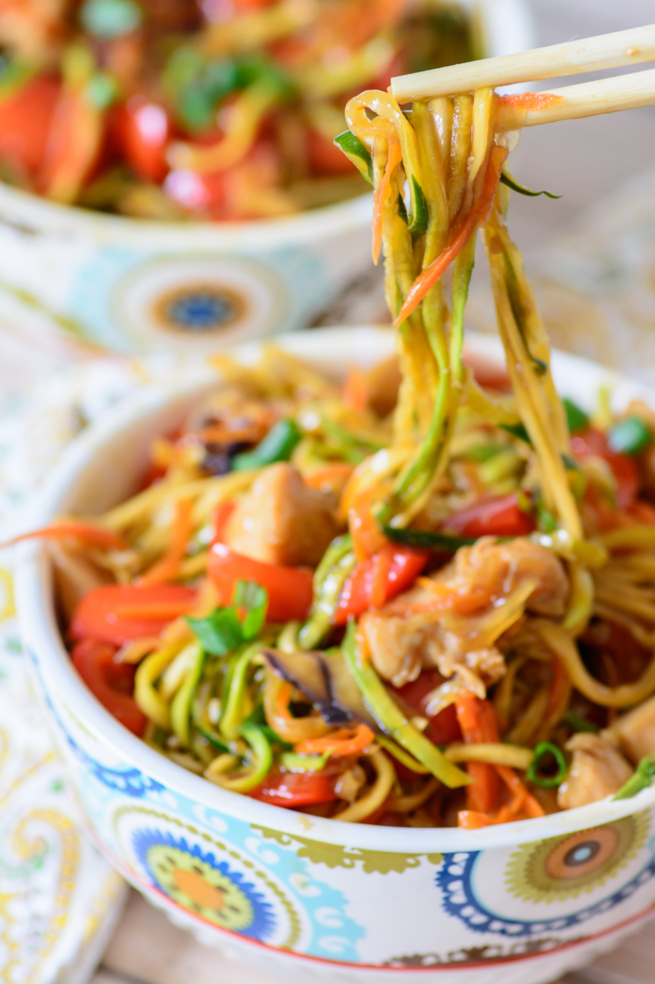 Honey Sriracha Chicken Zoodle Bowls - Almost Supermom
