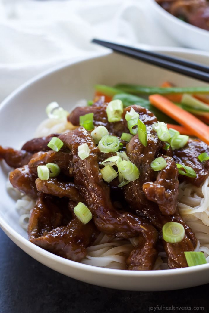Honey Sriracha Mongolian Beef with Rice Noodles ...