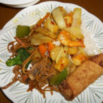 Hunan/Cantonese…Veggie Lo Mein, Shrimp Egg Roll & Curry …