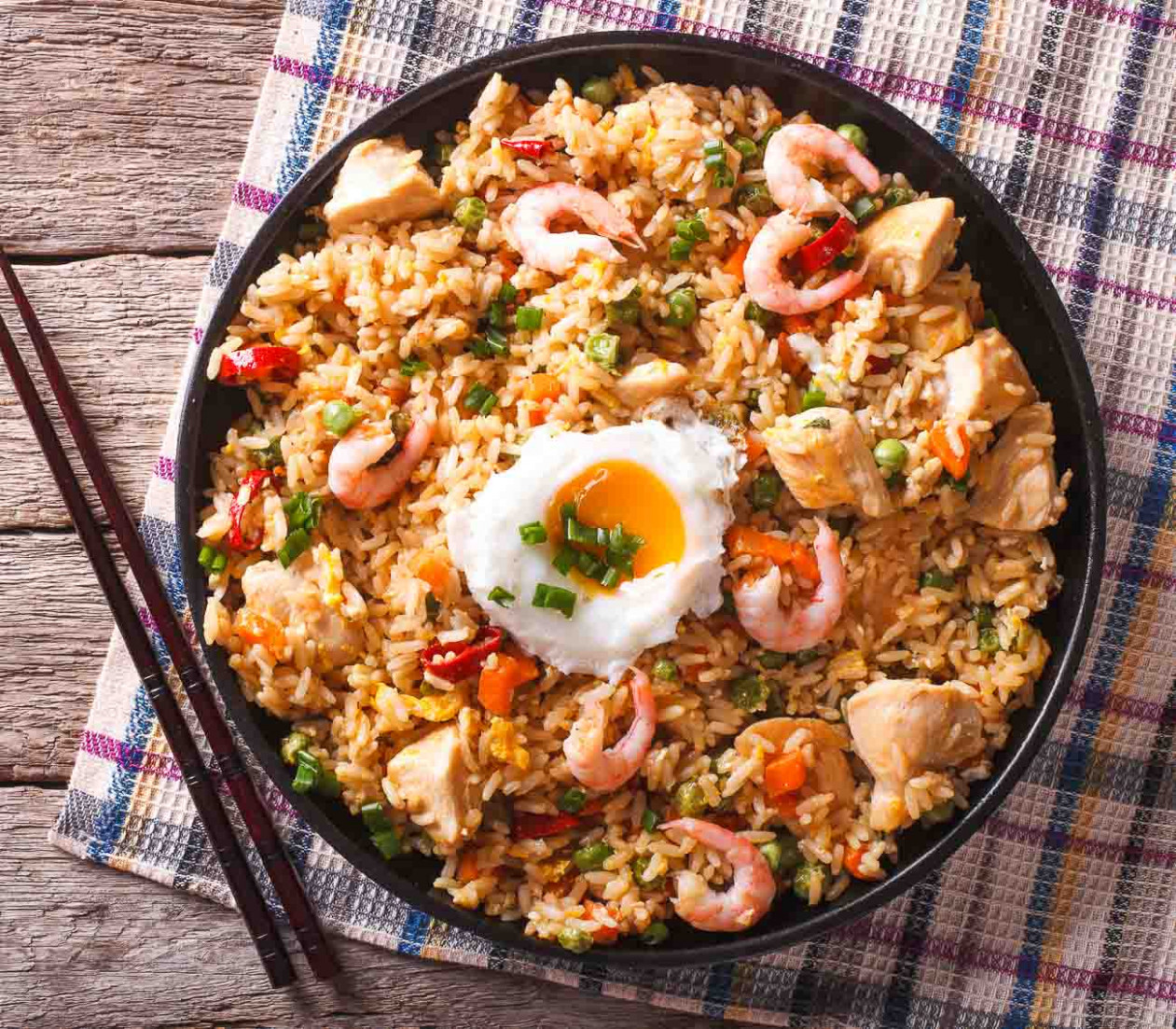 Indo Chinese Prawn And Chicken Fried Rice Recipe