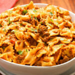 Instant Pot Cheesy Beef And Bowtie Pasta
