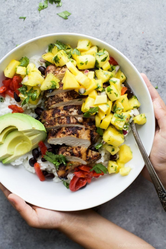Jerk Chicken Bowls with Mango Pineapple Salsa | Easy ...