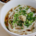 Kake Udon⠀ The Most Simple Udon Noodle Recipe. The Soup Has A Mild Taste As The Stock Is Made From Kelp And Dried Shiitake Mushroom. Toppings Are Simply Scallion, Ginger And Sesame Seed. The Grounded Ginger Bring Nice Flavor And It Is Really Tasty.⠀