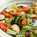 Kale Pepita Pesto Over Zucchini Ribbons