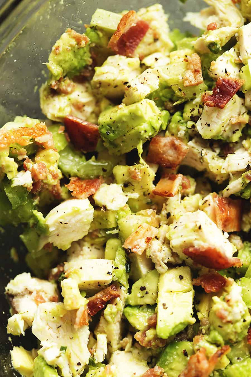 Keto Chicken Salad with Avocado and Bacon • Low Carb with ...