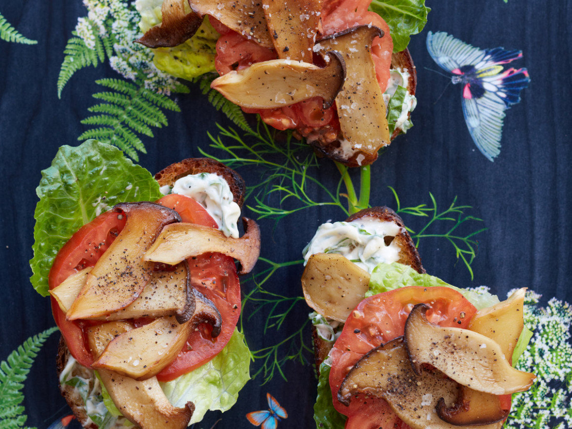 "King Oyster Mushroom ""BLT"" with Basil Mayonnaise Recipe ..."