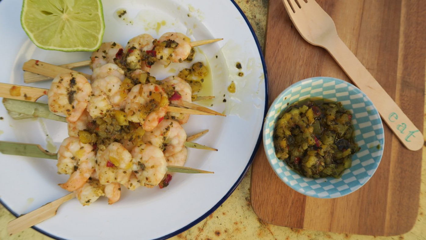 King prawn BBQ skewers with mango, coriander and coconut