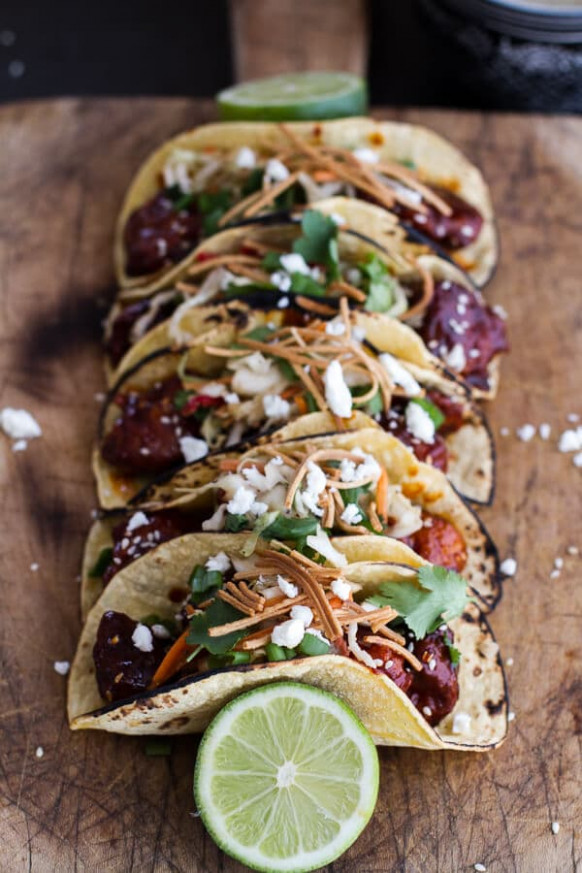 Korean Fried Chicken Tacos with Sweet Slaw, Crunchy ...