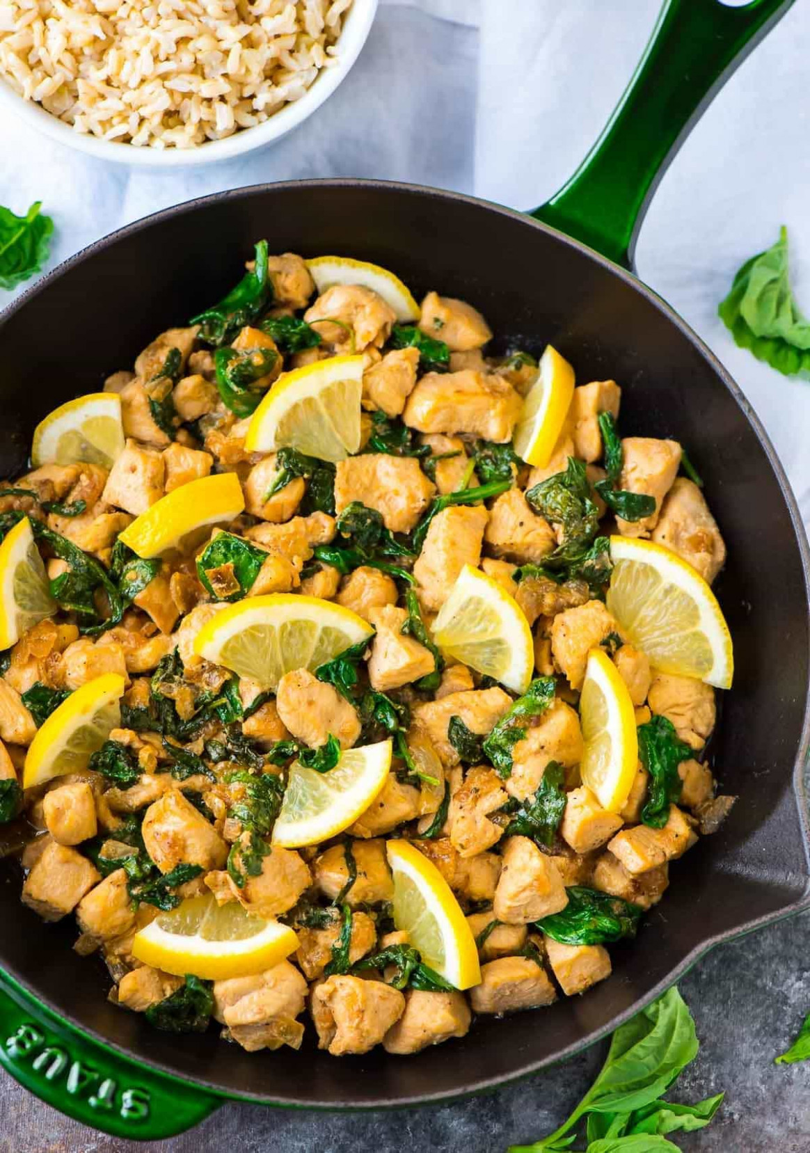 Lemon Basil Chicken with Spinach | Healthy One Pan Recipe