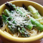 Lemon onion asparagus on angel hair