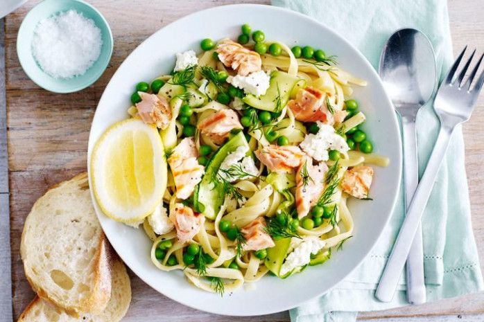 Lemony salmon pasta with spring vegetables and ricotta