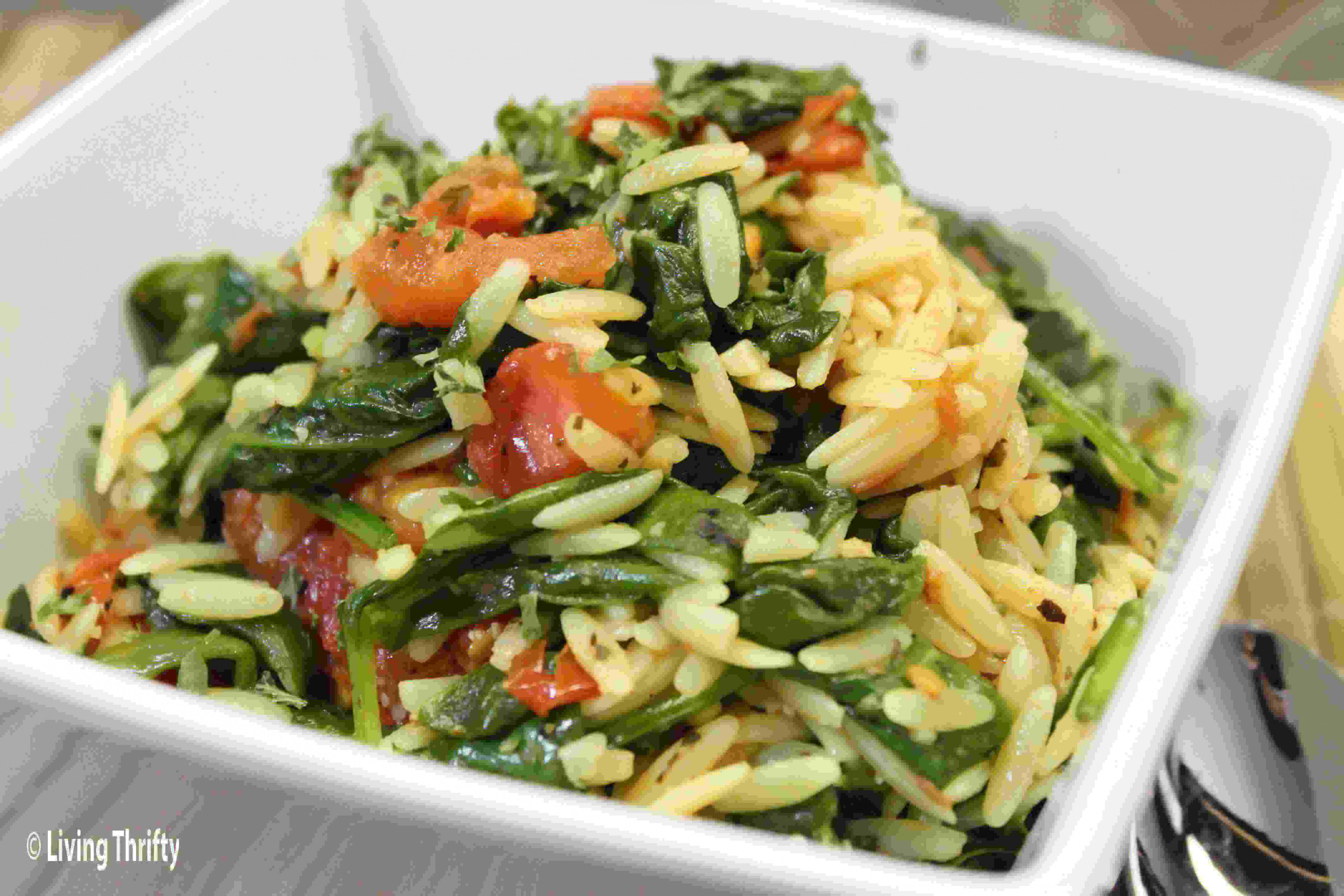 Living Thrifty Orzo Pasta and Veggies http://www ...