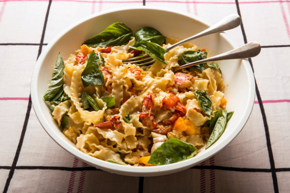 Lobster Pasta With Yellow Tomatoes and Basil Recipe - NYT ...