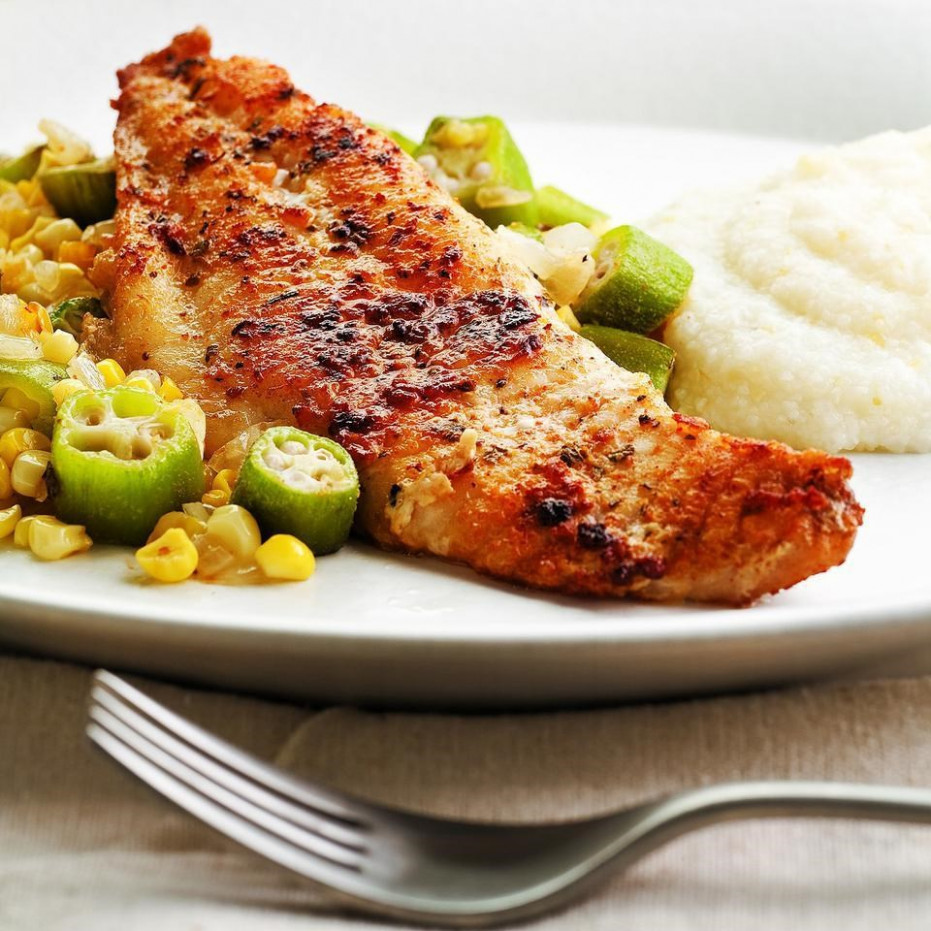 Louisiana Catfish with Okra & Corn Recipe - EatingWell