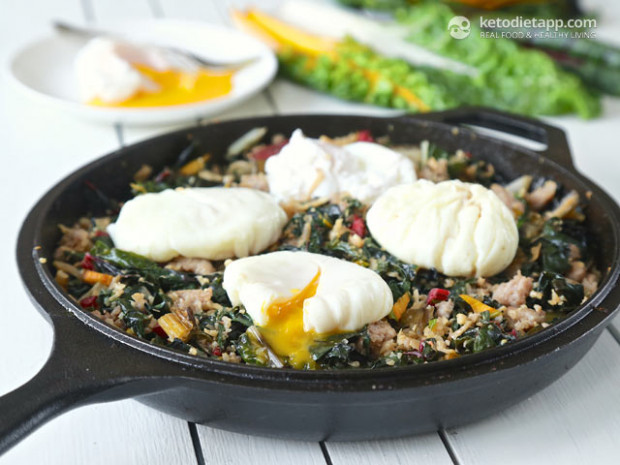 Low-Carb Rainbow Chard & Sausage Hash | The KetoDiet Blog