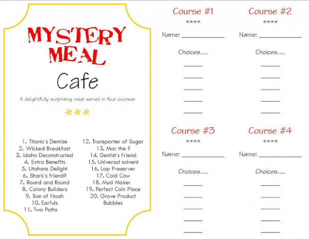 Make a Memory Mystery Dinner - A Little Tipsy