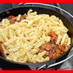 Meat Lovers Dutch Oven Pasta Camping Recipe | RVing