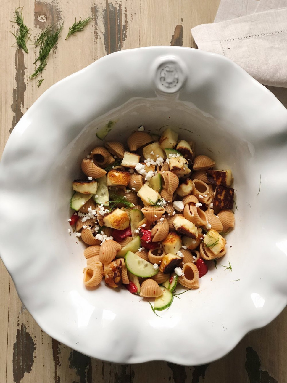 Mediterranean Pasta Salad With Crispy Halloumi — Caramelized
