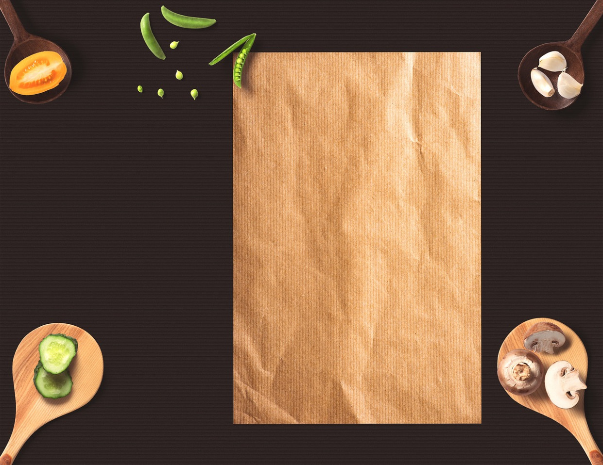 Menu, Paper, Background, Wooden Spoon