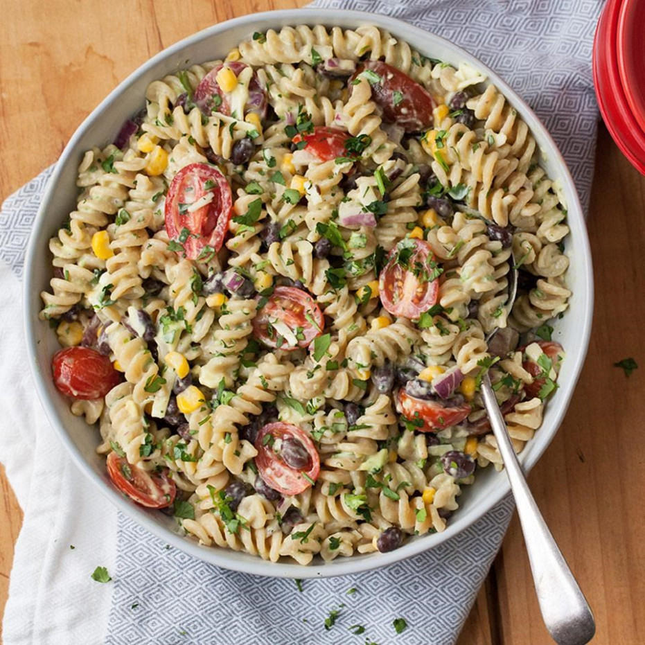 Mexican Pasta Salad with Creamy Avocado Dressing Recipe ...