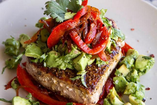 Mexican tuna steaks with red peppers and avocado salsa