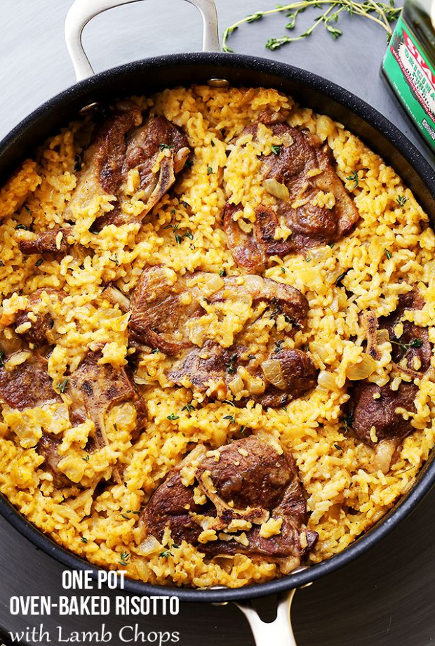 Mom's One Pot Oven-Baked Risotto with Lamb Chops | Recipe ...