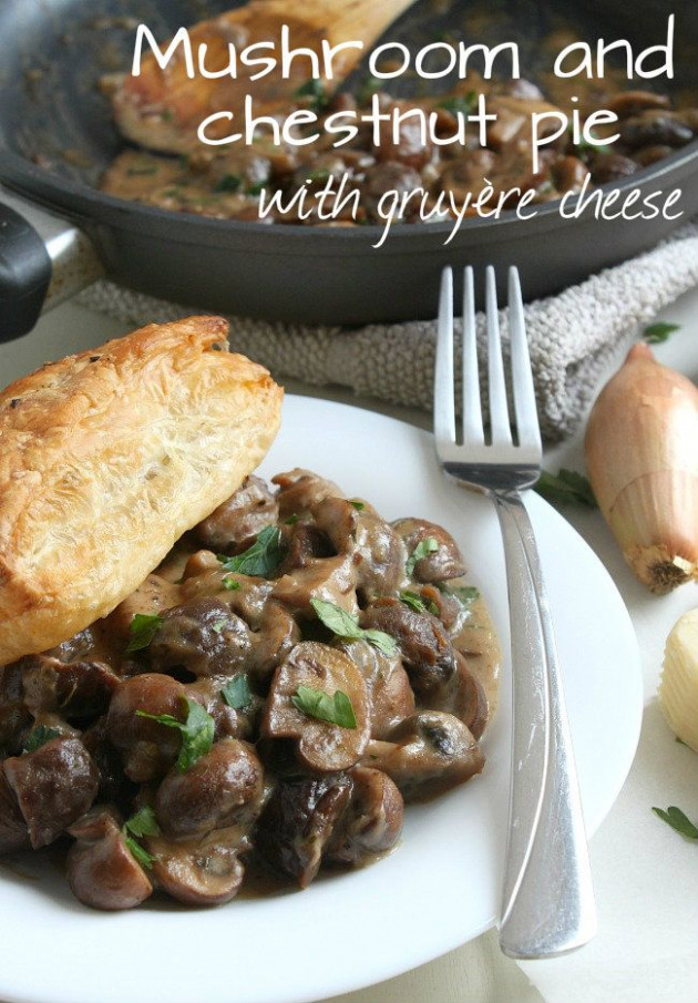Mushroom and chestnut pie with gruyere cheese - a ...