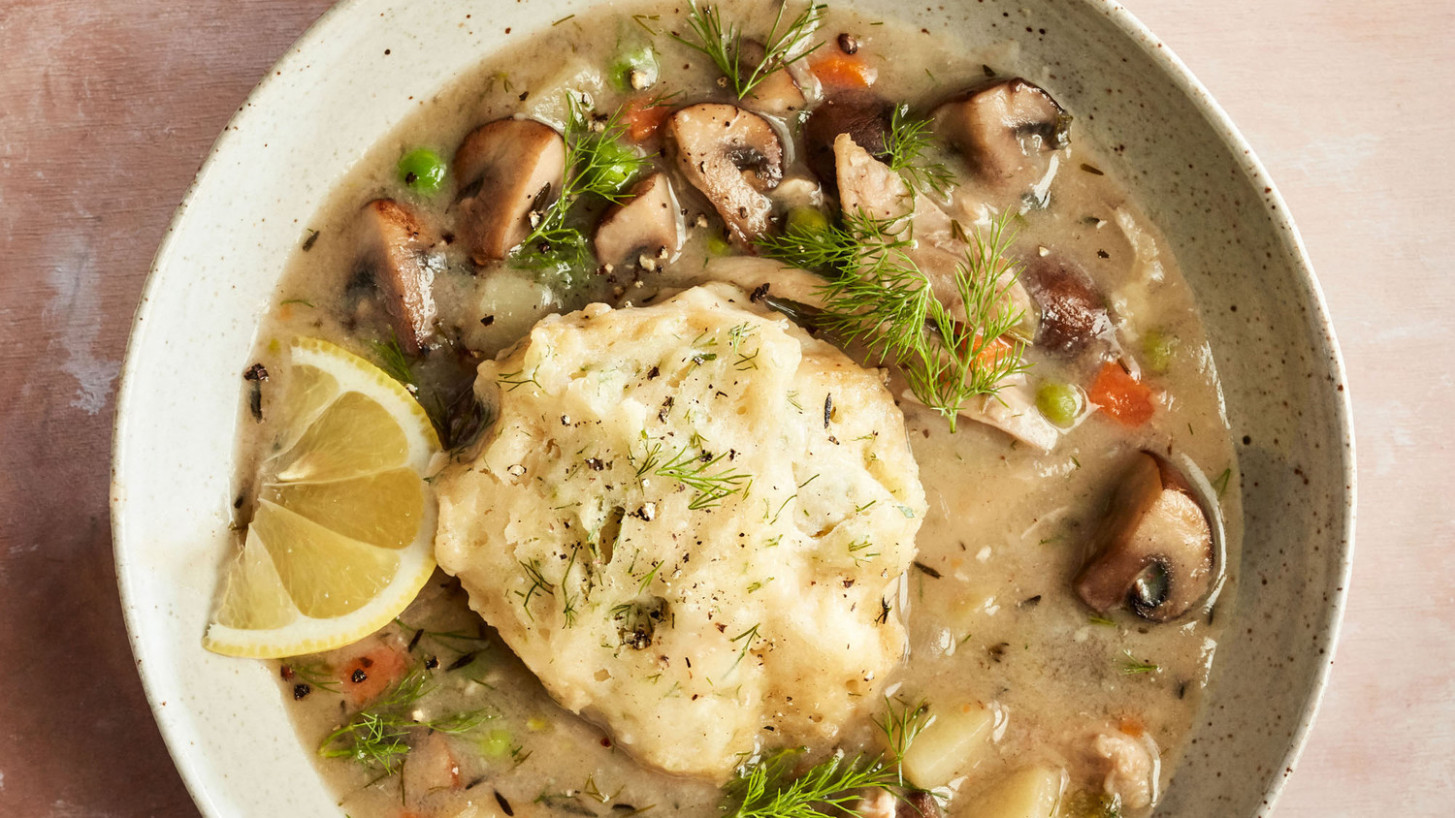 Mushroom-and-Dill Chicken and Dumplings