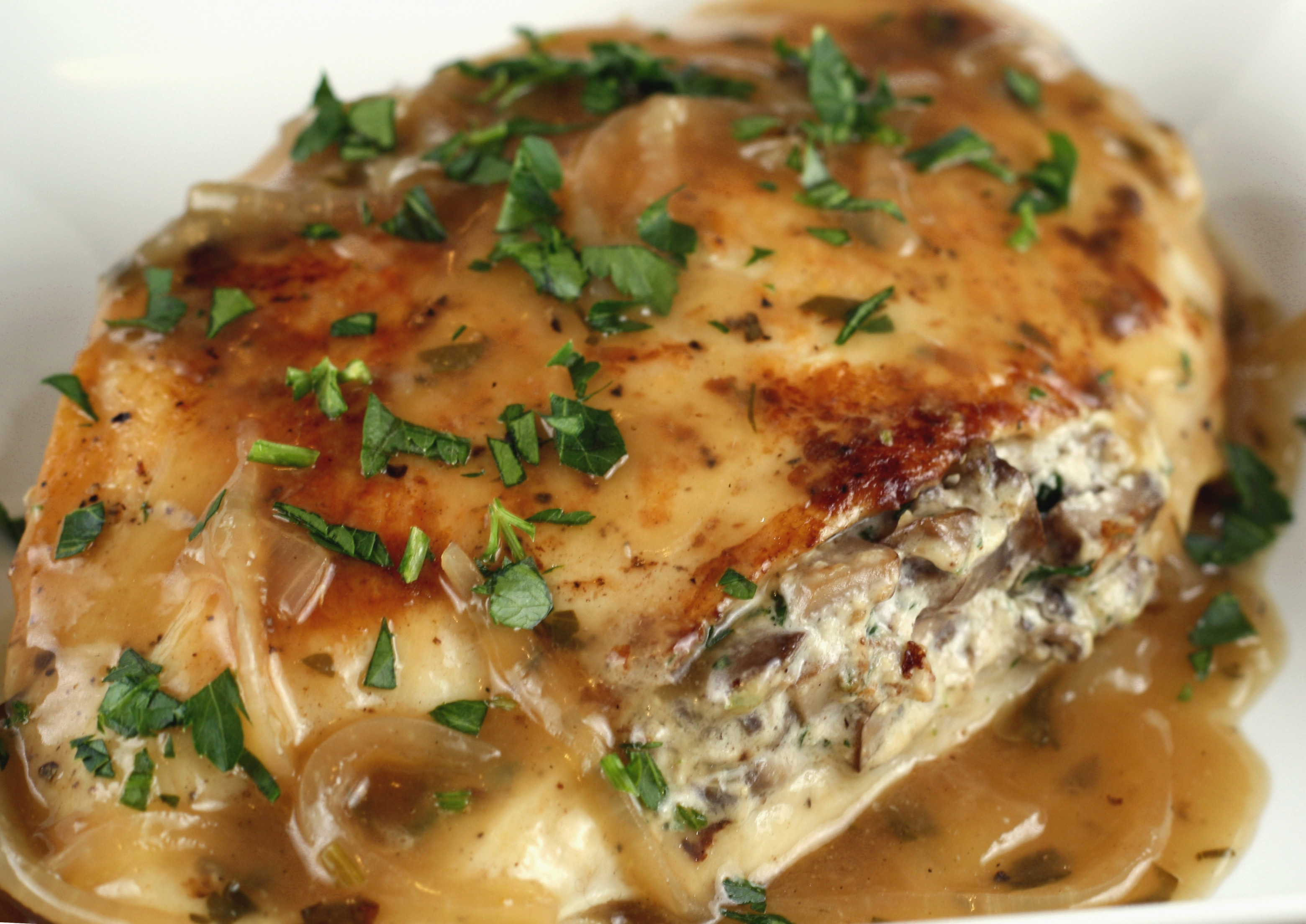Mushroom and Goat Cheese Stuffed Chicken with Shallot Pan ...