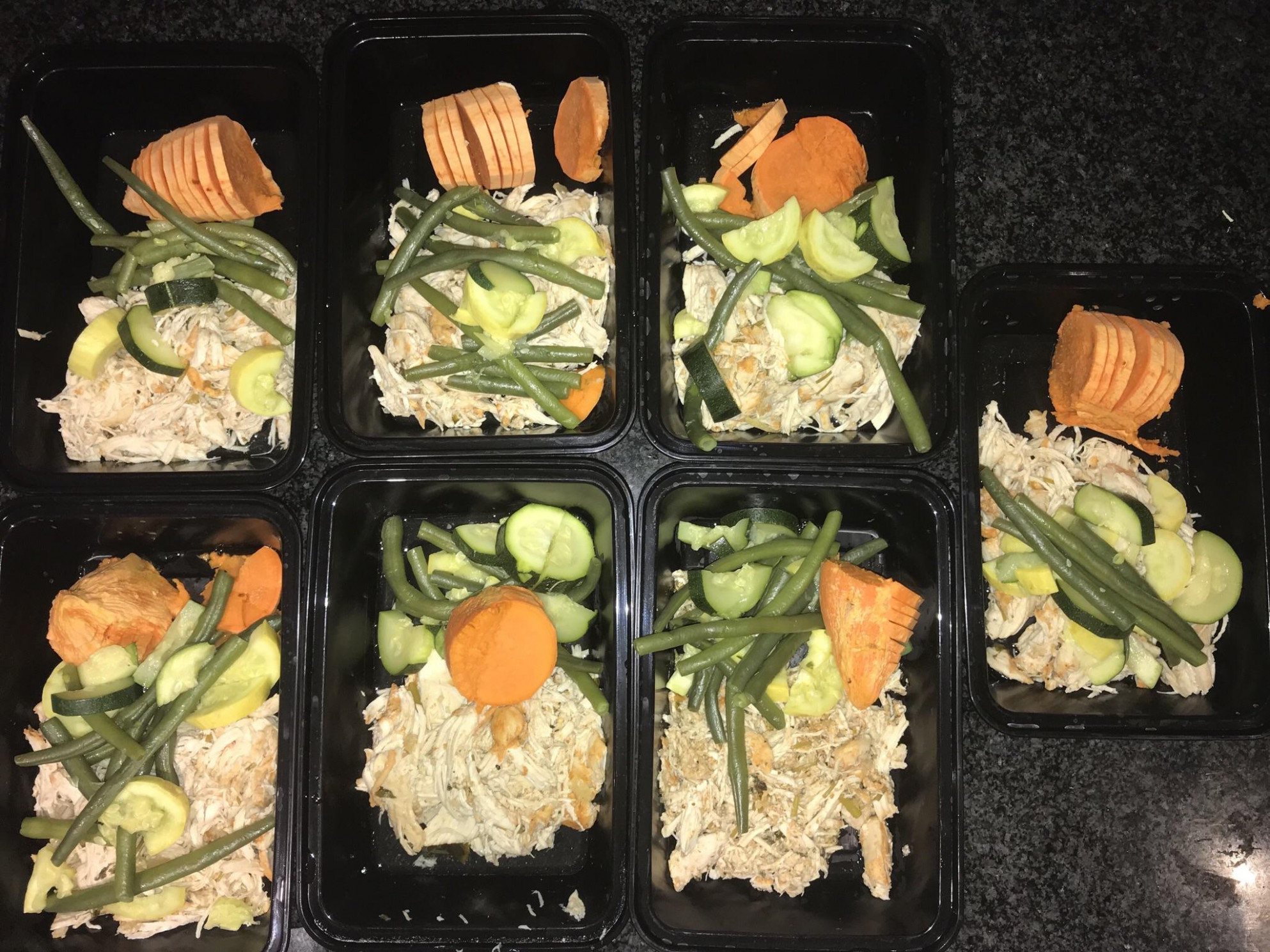 My first meal prep! Shredded chicken, sweet potato, zucchini ...