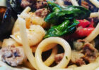 My Italian venison sausage over pasta with mussels shrimp ...