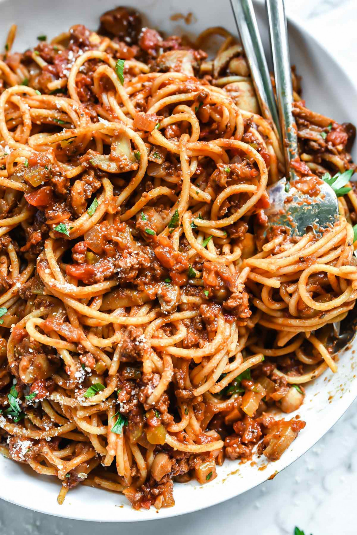 My Mom's Homemade Spaghetti and Meat Sauce | foodiecrush.com