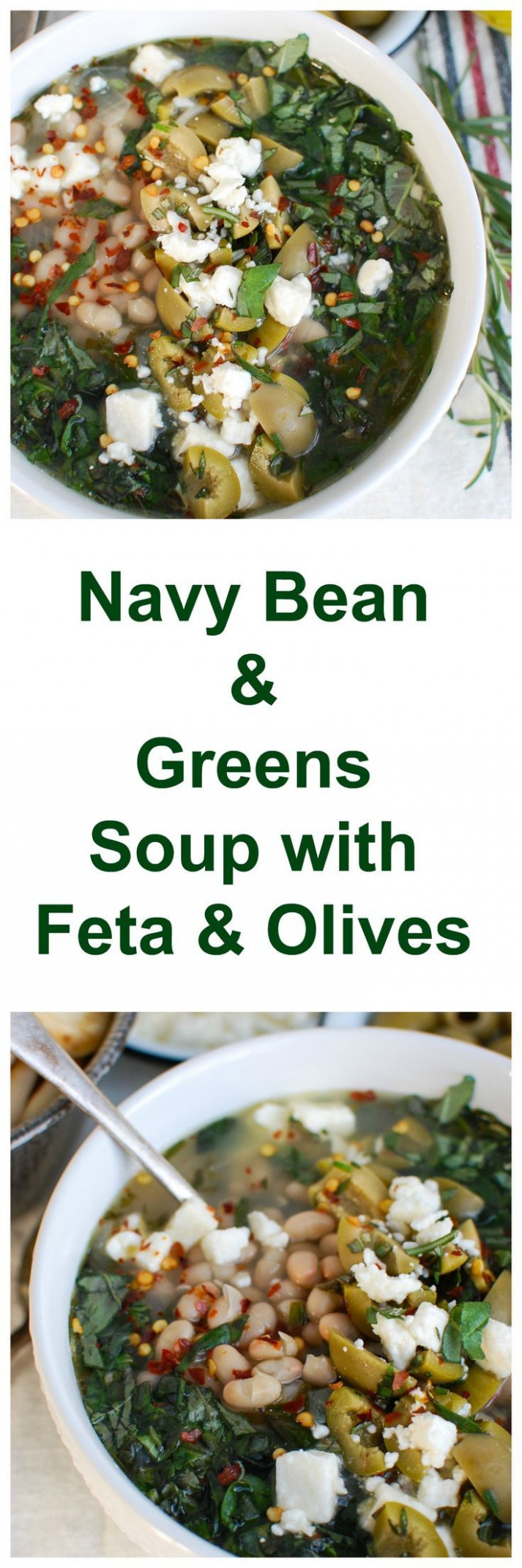 Navy Bean and Greens Soup with Feta and Olives | Recipe ...