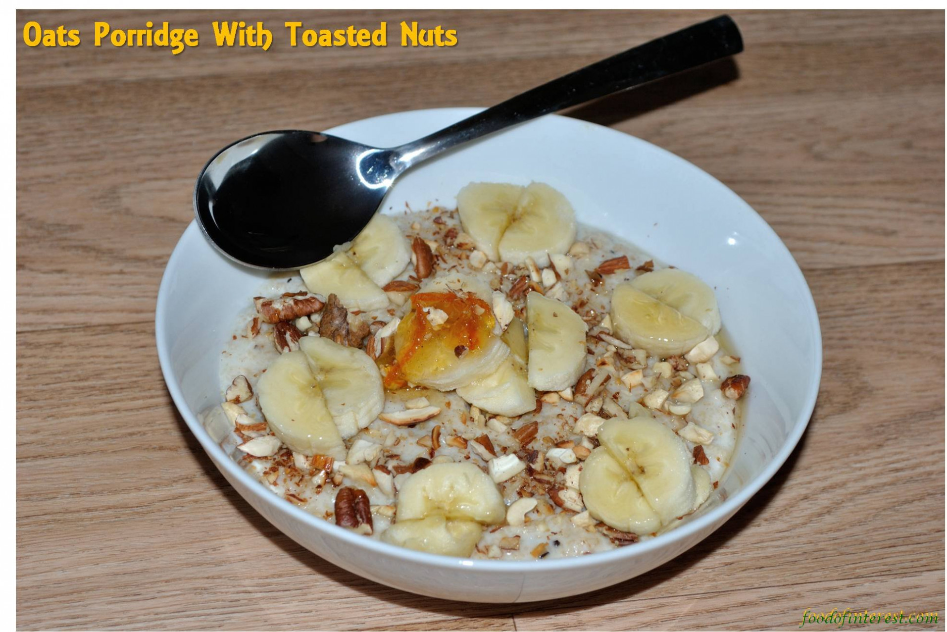 Oats porridge with toasted nuts and raisins | Oatmeal with ...