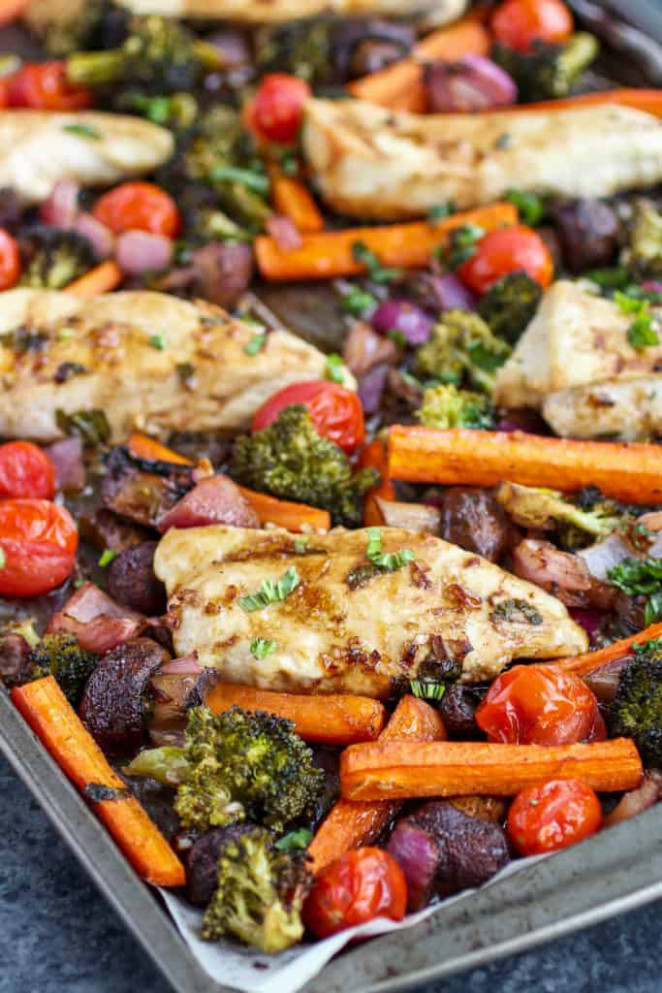 One Pan Balsamic Chicken Veggie Bake – The Real Food …