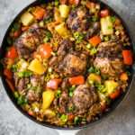 One Pan Caribbean Jerk Chicken With Pineapple Coconut Rice